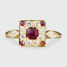 Contemporary Garnet and Diamond Square Faced Ring in 18ct Yellow Gold