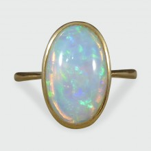SOLD Edwardian Oval Opal Solitaire Ring in 18ct Yellow Gold