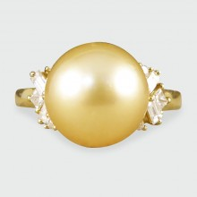 SOLD Contemporary Large Golden Pearl and Diamond 18ct Yellow Gold Ring