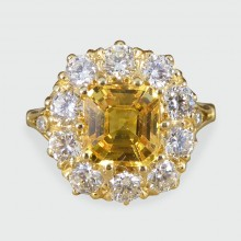 SOLD Yellow Sapphire and Diamond Cluster ring in 18ct Yellow Gold
