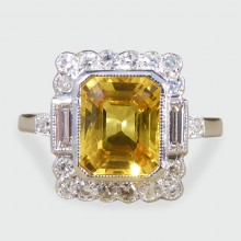 SOLD Contemporary Yellow Sapphire and Diamond Art Deco Style Ring in 18ct White Gold