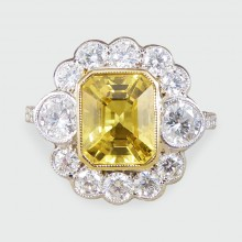 SOLD Contemporary 2.96ct Yellow Sapphire and Diamond Cluster Ring in 18ct White Gold