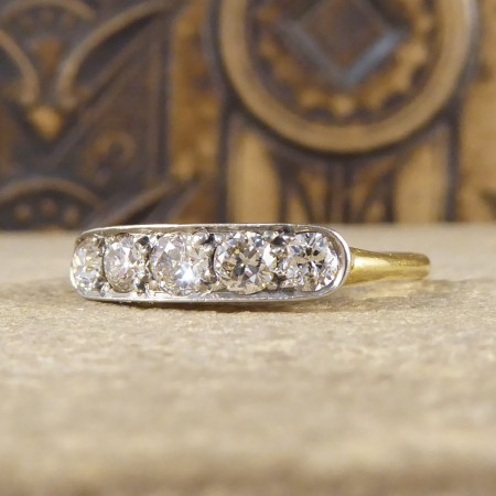 Art Deco Closed Five Stone Diamond Ring in 18ct Yellow Gold and Platinum