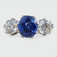 SOLD Vintage Sapphire and Diamond Three Stone Ring in Platinum