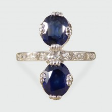 SOLD 1930's Horizontal Two Stone Sapphire Ring with Half Diamond set Platinum Band