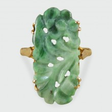 SOLD 1920's Carved Jade Ring in 18ct Yellow Gold
