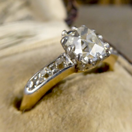 Antique 1.55ct Diamond Solitaire Engagement Ring with Diamond Shoulders in 18ct Gold