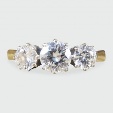 SOLD Contemporary Three Stone Diamond Ring 1.00ct Total in 18ct Gold