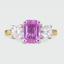 SOLD Pink Sapphire and Diamond Three Stone Ring in 18ct Gold