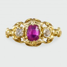 SOLD Antique Early Victorian Ruby and Diamond Ring in 18ct Yellow Gold