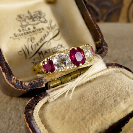 SOLD Late Victorian Ruby and Diamond Five Stone Ring in 18ct Yellow Gold