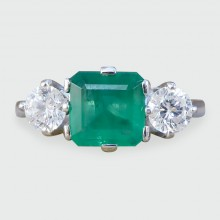 SOLD Vintage Emerald and Diamond Three Stone Ring in 18ct White Gold