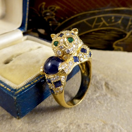 Contemporary Sapphire, Diamond and Emerald set Feline Ring in 18ct Yellow Gold