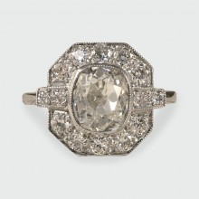 SOLD Art Deco Style 1.36ct Centre Diamond Cluster Ring in Platinum