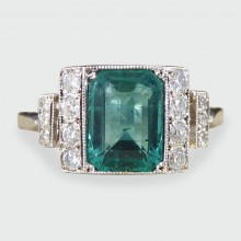 SOLD Art Deco Style 1.31ct Emerald and Diamond Ring in 18ct White Gold