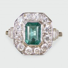 SOLD Contemporary, Art Deco Style Emerald and Diamond Cluster Ring in 18ct White Gold