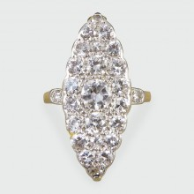 Edwardian 2.3ct Diamond Marquise Shaped Ring in 18ct Yellow Gold and Platinum