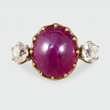 Contemporary Cabochon Ruby and Diamond Three Stone Ring in 18ct Yellow Gold