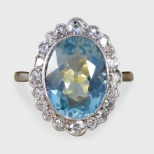 SOLD Edwardian 3.02ct Aquamarine and Diamond Cluster Ring in 18ct Gold and Platinum