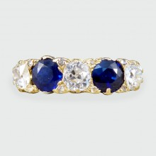 Antique Late Victorian Sapphire and Diamond Five Stone Ring in 18ct Gold