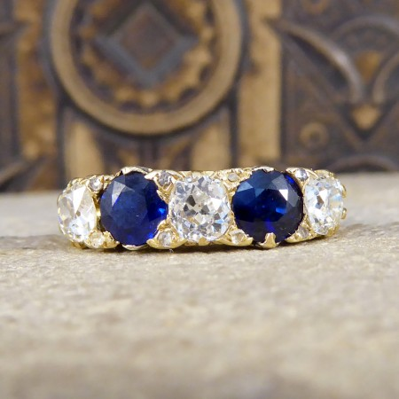 SOLD Antique Late Victorian Sapphire and Diamond Five Stone Ring in 18ct Gold