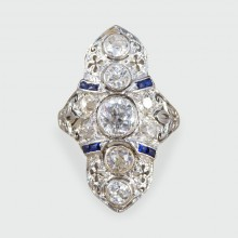 Art Deco Plaque Style Diamond and Sapphire Ring in 18ct White Gold