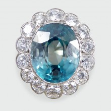 Vintage Blue Zircon and Diamond Cluster Ring in 18ct White Gold