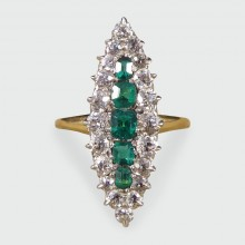 SOLD Antique Emerald and Diamond Cluster Marquise Ring in 18ct Gold
