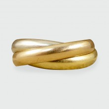 Les Must De Cartier Trinity Band Rolling Ring in Three Different 18ct Golds