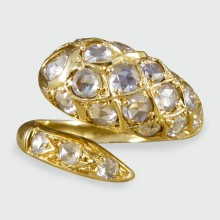 SOLD Contemporary Diamond Set Snake Ring in 18ct Yellow Gold