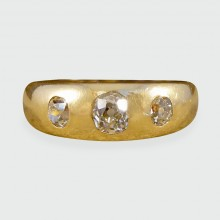 SOLD Late Victorian Diamond Three Stone Gypsy Set Ring in 18ct Yellow Gold