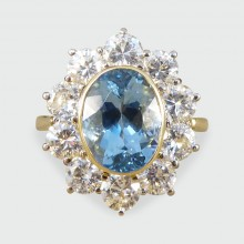 ON HOLD Contemporary Aquamarine and Diamond Cluster Ring in 18ct Gold