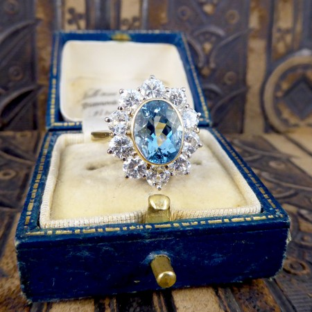 Contemporary Aquamarine and Diamond Cluster Ring in 18ct Gold