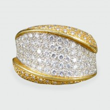 SOLD Wide Contemporary Diamond Set Two Toned 18ct Gold Band