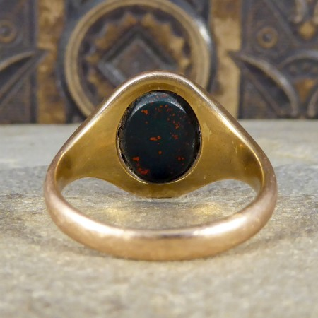 Edwardian Masonic Carved Bloodstone Signet Ring in 9ct Rose Gold
