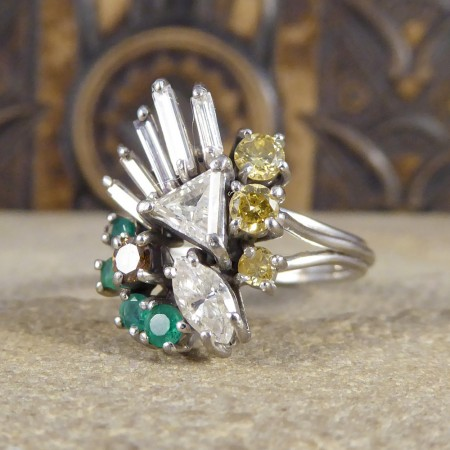 Vintage Fancy Light Brown, Cognac, White Diamond and Emerald Spray Ring in 18ct White Gold