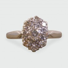 SOLD 1920s Diamond Cluster Ring crafted in 18ct White Gold and Platinum