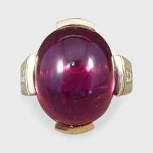 SOLD Contemporary Cabochon Tourmaline 18ct Yellow Gold Ring with Diamond Shoulders