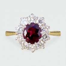 SOLD Contemporary Ruby and Diamond Cluster Ring in 18ct Gold