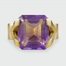 SOLD Contemporary Amethyst Ring in 18ct Yellow Gold