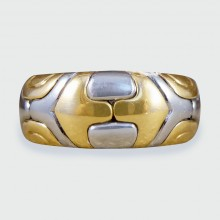 SOLD 18ct Yellow Gold and Steel Bulgari Alveare Detailed Band