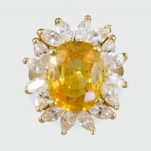 SOLD 5.75ct Yellow Sapphire and Marquise Diamond Cluster Ring in 18ct Yellow Gold