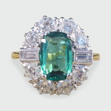 SOLD Contemporary Emerald and Diamond Cluster Ring in 18ct Gold