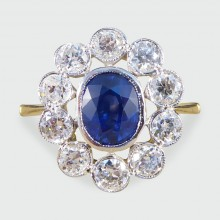 SOLD Contemporary Sapphire and Diamond Cluster Ring in 18ct Gold