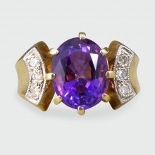 Vintage Vibrant Amethyst and Diamond Ring in 18ct Yellow Gold