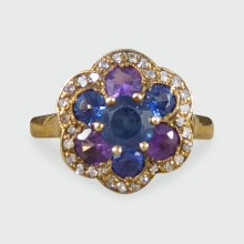 Blue and Purple Sapphire and Diamond Flower Cluster Ring in 18ct Yellow Gold