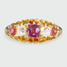 SOLD Late Victorian Five Stone Ruby and Diamond Ring in 18ct Yellow Gold