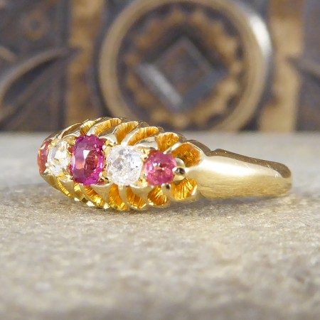 Late Victorian Five Stone Ruby and Diamond Ring in 18ct Yellow Gold