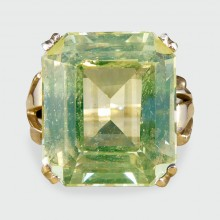 ON HOLD Large Vintage Synthetic Spinel Ring in 9ct Yellow Gold with Detailed Shoulders