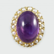 SOLD Vintage Cabochon Amethyst and Pearl Cluster Ring in 9ct Yellow Gold
